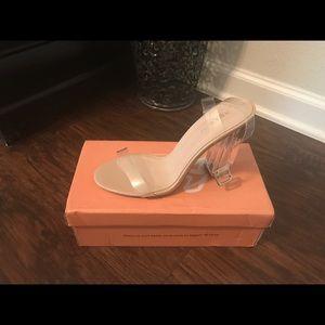 Public desire clear nude heels size 5 brand new .